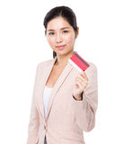 Businesswoman hold with credit card Stock Images