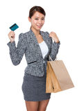 Businesswoman hold with credit card and shopping bag Stock Photography