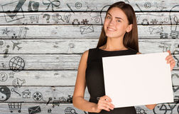 Businesswoman hold empty paper. Background of stock photos