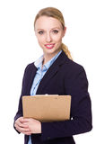 Businesswoman hold with file pad Stock Images