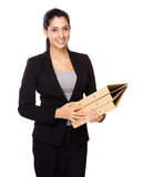 Businesswoman hold with folder Royalty Free Stock Photo