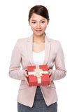 Businesswoman hold with gift box Royalty Free Stock Photo