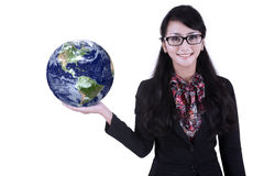 Businesswoman hold globe on white Royalty Free Stock Image
