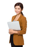 Businesswoman hold with laptop computer Stock Photos