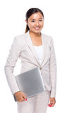 Businesswoman hold with laptop computer Royalty Free Stock Photography