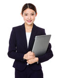 Businesswoman hold with laptop Royalty Free Stock Photo