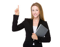 Businesswoman hold with laptop and thumb up Stock Photos