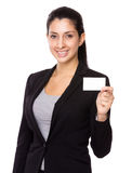 Businesswoman hold with name card Stock Photo