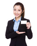 Businesswoman hold with name card Royalty Free Stock Photos