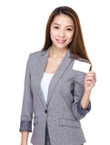 Businesswoman hold with name card Stock Image