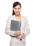 Businesswoman hold with notebook computer Stock Photography