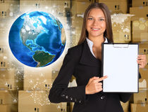 Businesswoman hold paper holder. Earth and wall of Stock Images