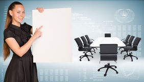 Businesswoman hold paper sheet. Big conference Royalty Free Stock Photography