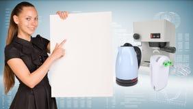 Businesswoman hold paper sheet. Coffee maker, Stock Photos