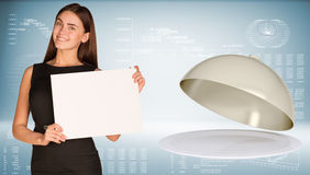 Businesswoman hold paper sheet. Dish with lid Royalty Free Stock Photo