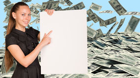 Businesswoman hold paper sheet. Dollars banknotes Stock Photos