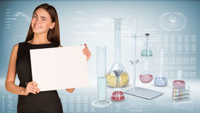 Businesswoman hold paper sheet. Flasks chemistry Stock Images