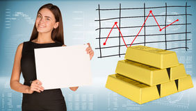 Businesswoman hold paper sheet. Gold bars Stock Images