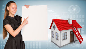 Businesswoman hold paper sheet. House with label Stock Photos