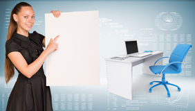 Businesswoman hold paper sheet. Office table with Royalty Free Stock Photography