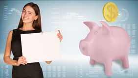 Businesswoman hold paper sheet. Pink piggy bank Royalty Free Stock Image