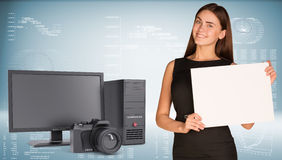 Businesswoman hold paper sheet. System unit, Stock Image