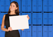 Businesswoman hold paper sheet. Wall of blue Royalty Free Stock Photos