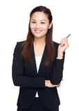 Businesswoman hold with pen Stock Image