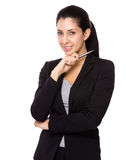 Businesswoman hold with pen Royalty Free Stock Image