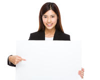 Businesswoman hold with placard Royalty Free Stock Images