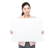 Businesswoman hold with placard Royalty Free Stock Image