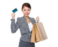 Businesswoman hold with shopping bag and credit card Stock Images
