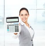 Businesswoman hold show calculator Royalty Free Stock Images