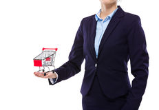 Businesswoman hold with small shopping cart Stock Photo
