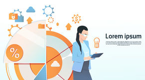 Businesswoman Hold Tablet Computer Visualization Analysis Finance Graph Financial Business Chart Copy Space. Flat Vector Illustration Stock Images