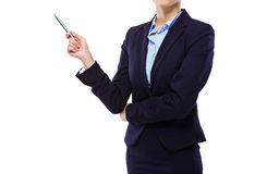 Businesswoman hold up with pen for presentation Royalty Free Stock Image