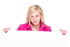 Businesswoman hold white blank paper Royalty Free Stock Images