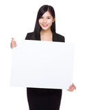 Businesswoman hold with white board Stock Images