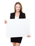 Businesswoman hold with white board Stock Photography
