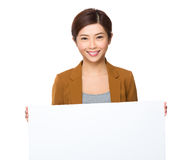 Businesswoman hold with white board Stock Photos