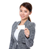 Businesswoman hold with white namecard Royalty Free Stock Photo