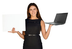 Businesswoman hold white paper and laptop Stock Photo