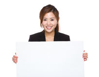 Businesswoman hold white placard Royalty Free Stock Image
