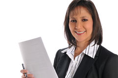 Businesswoman Holding A Pen And Paper Stock Photos