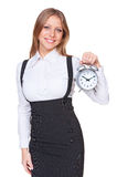 Businesswoman holding alarm clock Royalty Free Stock Image