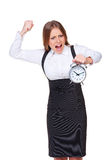 Businesswoman holding the alarm clock Royalty Free Stock Image