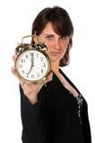 Businesswoman Holding Alarm Clock Stock Image