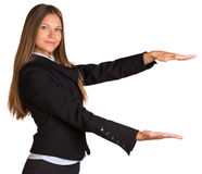 Businesswoman holding anything Royalty Free Stock Photo