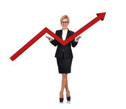 Businesswoman holding arrow Royalty Free Stock Photography