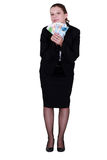 Businesswoman holding bank notes Royalty Free Stock Photos